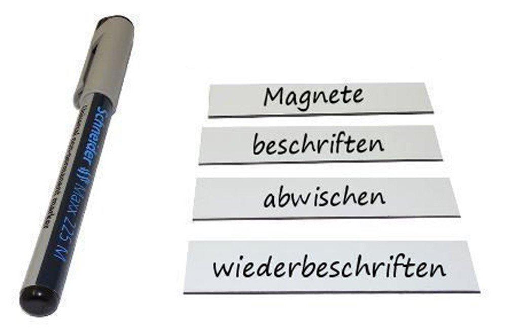 75 Magnetschilder Magnetstreifen Magnet-Etiketten beschreibbar//abwischbar 2 x 8cm in wei/ß K/ühlschrank als Lageretiketten Whiteboard f/ür Werkstatt