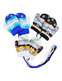 Peecabe Baby Boy Winter Gloves Striped Knitted Gloves with Rope for Girls 3-Pack (Snow(White+Black+Blue),0-2T)
