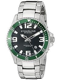 Stuhrling Original Men's 395.33P154 Aquadiver Regatta Champion Professional Diver Swiss Quartz Date Green Bezel Watch