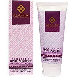 Alaffia Facial Cleanser 22 100% FAIR TRADE: Feel good about how you are getting your products with 100% Certified Fair Trade Ingredients. CLEANSE WITH ANTIOXIDANTS: With handcrafted shea butter, virgin coconut oil, and Rooibos tea - highly effective antioxidants - aloe and African wild honey, this silky cleanser fights skin-aging free radicals as it gently removes makeup, dirt, debris and other impurities. BALANCE YOUR SKIN, NATURALLY: Non-alkaline formula helps maintain and revitalize skins own moisture balance.