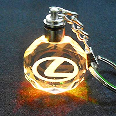 VILLSION Upgradetion LED Car Keychain Logo Keyring Accessories Auto Key Chain Gift with Box Color Changing Crystal Light: Automotive