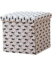 Multifunctional Foldable Cotton and Linen Storage Board, Square Storage Box, Shoe-Changing Stool, Fabric Creative Sofa Stool, Adult Can Sit 55L,15 * 15 * 15inches Littlewhale
