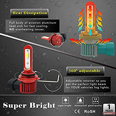 Alla Lighting 5200lm AL-R H8 H11 LED Fog Light Bulbs Xtreme Super Bright 12V DRL, 6K Xenon White: Automotive