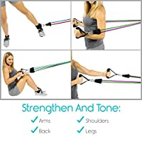 Tube Resistance Band Set by Vive - Door Anchor Included - Fitness Workout Exercise Equipment Elastic Training Aid for Fit Men, Women, Arm, Legs, Butt, Ankle Stretch, Rehab Therapy - Home Gym Workout by Vive Health