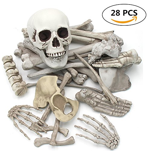 NEWBEA 28 PCS/Set Human Skeleton Bones and Skull Halloween Party Decoration & Graveyard Scene Bag of Plastic Bones Skull for Props (Diy Halloween Lawn Decorations)