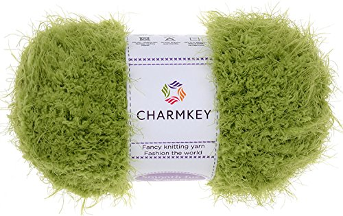 Charmkey Smooth Fur Yarn Super Soft Feeling 5 Bulky Fluffy Solid Colors Knitting Craft Polyester Fuzzy Nylon Yarn for Sweater Shawl Scarf Animal Toys and More, 1 Skein, 3.35 Ounce (Grass Green) - Fur Yarn