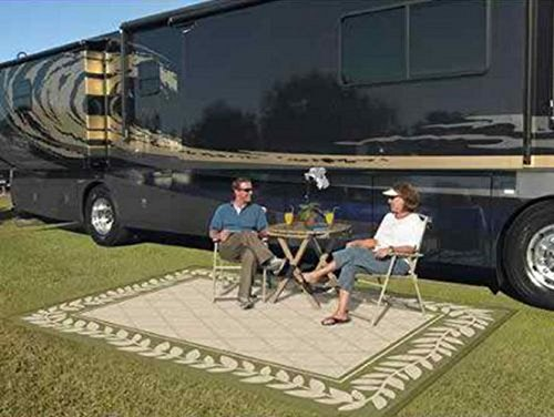 Patio Mat Indoor Outdoor Rv 9'x12' Reversible Camping Picnic Rug Carpet Deck Pad (Classic Leaf)