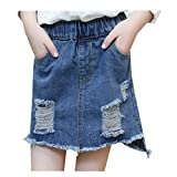 MV Girls' Spring Hole Denim Summer Bag Hip Skirt Kids Clothing