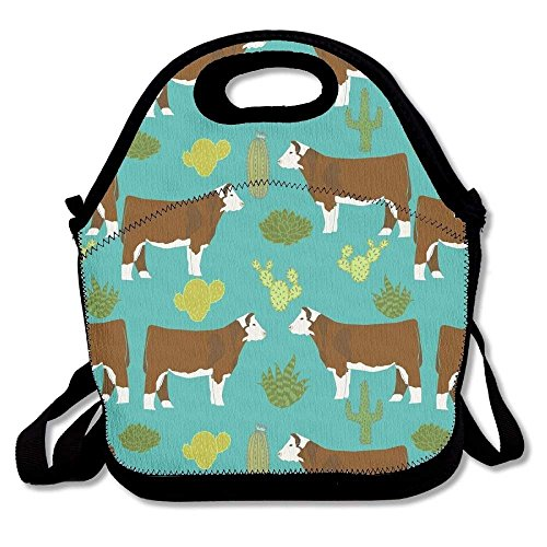 Hereford Cow Lunch Tote Bag Bags Awesome Lunch Handbag Lunchbox Box For School Work Outdoor ()