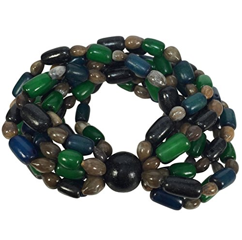 Gypsy Jewels Buri Palm and Wood Beads Multi Color Statement Stretch Bracelet - Assorted Colors (Green Blue Black Brown) ()