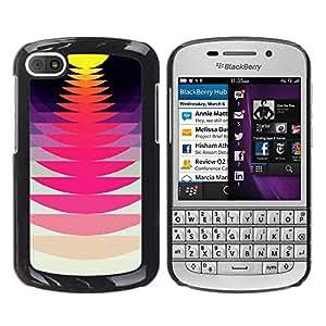 FECELL CITY // Duro Aluminio Pegatina PC Caso decorativo Funda Carcasa de Protección para BlackBerry Q10 // Music Record Sound Sunset Pink Yellow