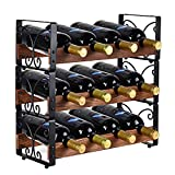 X-cosrack Rustic 3 Tier Stackable Wine Rack