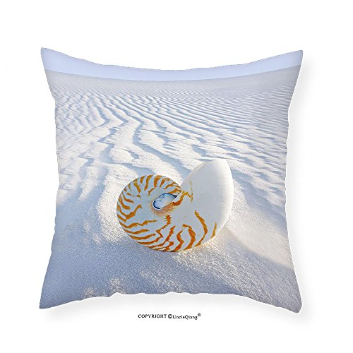 VROSELV Custom Cotton Linen Pillowcase Seashells Decor Collection Nautilus Spiral Shell On Sand Dune Seashore Nature Beach Marine Pattern And Natural Texture Bedroom Living Room Dorm (Natural Shells Needlepoint)