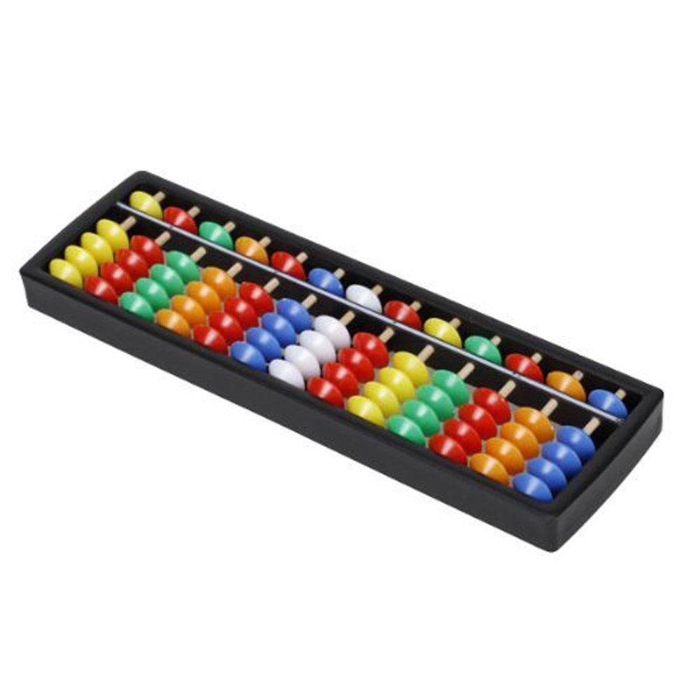 hugestore plástico portátil Abacus Aritmética Soroban Cálculo Herramienta con cuentas de colores herramienta educativa para niños