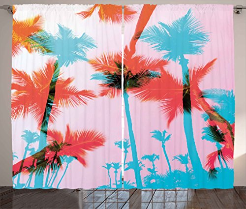 Tropical Curtains by Ambesonne, Coconut Palm Tree Silhouettes Exotic Island Summer Beach Art, Living Room Bedroom Window Drapes 2 Panel Set, 108 W X 63 L Inches, Dark Coral Light Pink Turquoise (Tropical Bedroom Sets)