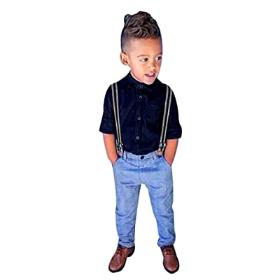 Euone 3-6Years Baby Boys Long Sleeve T-Shirt Tops+Braces+Trousers Outfits