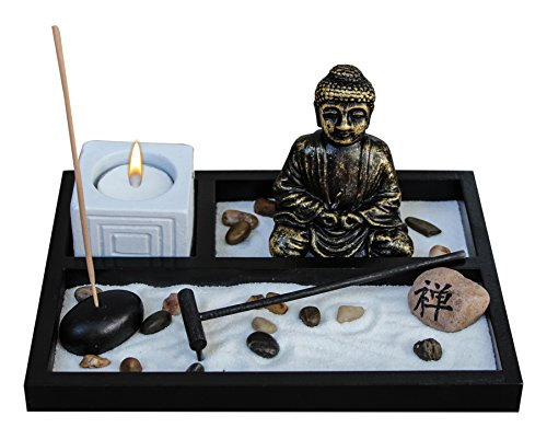Zen Garden Deluxe Desk Meditation Garden Buddha Statue With Tea Light Holder, Incense Holder, Incense, Rocks, Sand, And Rake (Candle Not Included)