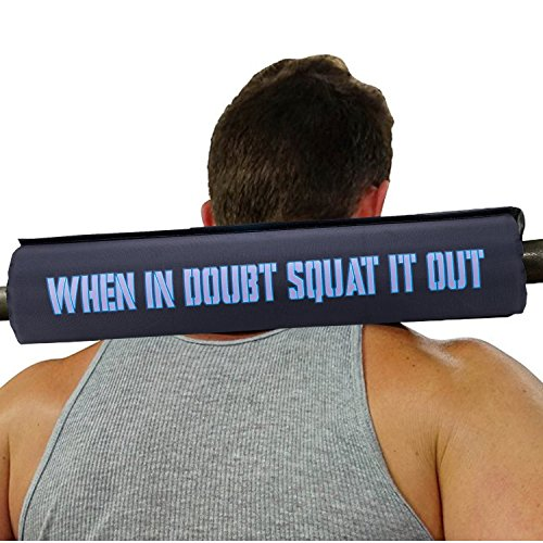 when in doubt squat it out barbell neck pad cushion for women and men 2 inch olympic gym bar pads with velcro used for squats hip thrusts bench press weightlifting lunges power lifts supported holder