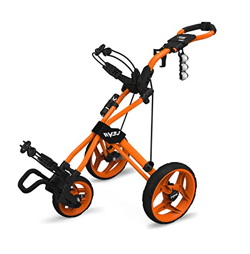 - Rovic Model RV3J Junior | Youth 3-Wheel Golf Push Cart (Orange)