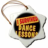 3dRose Dance Lessons Survival Pride and Humor Design Snowflake Ornament, 3''