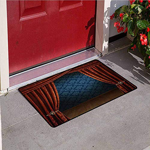 Jinguizi Victorian Welcome Door mat Grand Opening Showroom with Retro Pattern Wall Classic Stage Theatrical Door mat is odorless and Durable W23.6 x L35.4 Inch Burgundy Multicolor (Victorians Grande Grip)