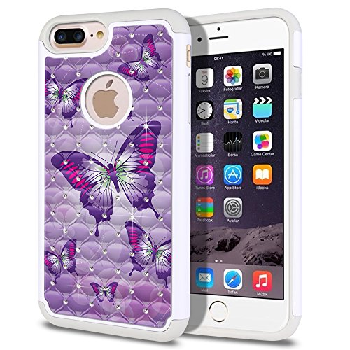 FINCIBO Case Compatible with Apple iPhone 7 Plus/ 8 Plus, Dual Layer Hybrid Protector Case Cover TPU Rhinestone Bling for iPhone 7 Plus / 8 Plus (NOT FIT iPhone 7/8) - Pink Purple Butterflies