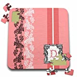 Russ Billington Monograms- Lacy Pink Initial D - Monogram Initial D in Pink White and Black - 10x10 Inch Puzzle (pzl_239029_2)