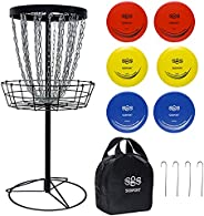 Disc Golf Basket Target 24-Chain Portable Disc Golf Goals with 6 Discs and Carry Bag