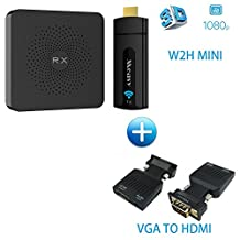 Measy Wireless HDMI Extender W2H MINI Include Transmitter and Receiver Kit support 1080P 3D Video up to 10M/33Ft add VGA TO HDMI Adapter use for Laptop / PC / TV BOX / DVD / X-BOX / PSP to TV or projector
