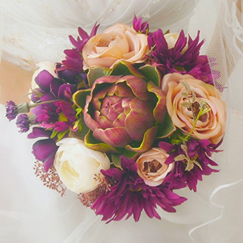 Generic Artificial Bridal Wedding Bouquet Purple Galsang Vintage Country Style Bride Flowers