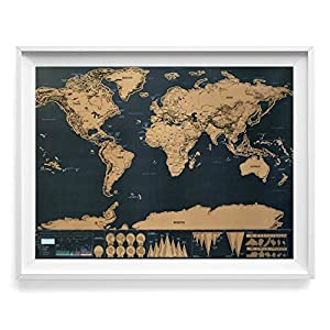 Large Scratch Off Adventure World Map Poster. Ultra Sharp Black & Gold Surface. Superior 3X Printing Process for More Eye Dazzling Color Underneath. Easy scratch, no special tools required! + Ebook!