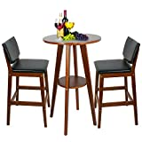 Kitchen Bar Table Set Super Deal Table+2 Bar Stools Bistro Dining Set Kitchen Furniture Pub Home Restaurant (1pc-Bar Table +2pcs-Bar Stools)