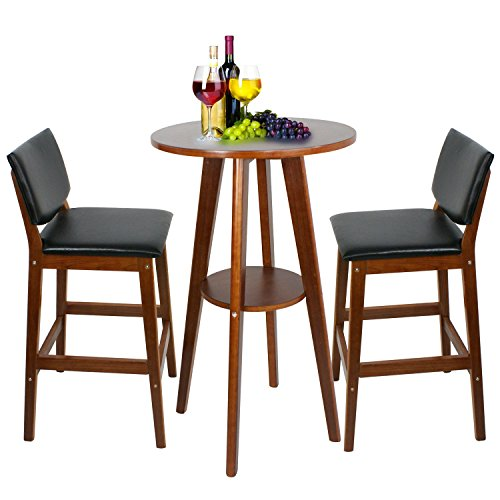 Super Deal Table+2 Bar Stools Bistro Dining Set Kitchen Furniture Pub Home Restaurant (1pc-Bar Table +2pcs-Bar Stools)