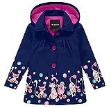 Wantdo Girl's and Boy's Soft Shell Raincoat Hooded Rain Jacket Waterproof Windbreaker(Navy, 7-8Y)
