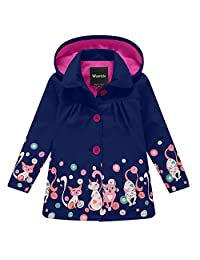 Wantdo Girl's Boy's Soft Shell Raincoat Hooded Rain Jacket Waterproof Windbreaker