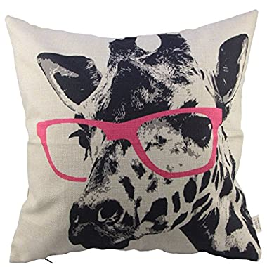 HOSL Animal Style Giraffe Pink Glasses Sofa Simple Home Decor Design Throw Pillow Case Decor Cushion Covers Square 18*18 Inch Beige Cotton Blend Linen