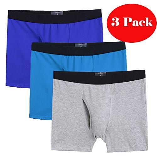ELOVER Men Underwear Cotton Stretch Boxer Brief Double Crotch 3-Pack