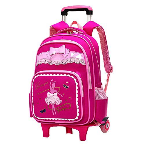 Fanci Bow-knot Dancing Girl Waterproof Elementary Trolley Rolling School Backpack Book Bag for Primary Girls Wheeled Backpack Carry On Luggage with Two ()