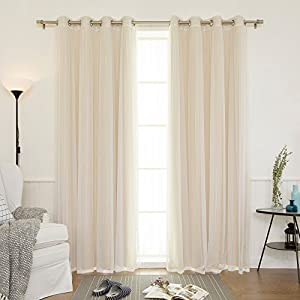 Best Home Fashion uMIXm Mix and Match Tulle Sheer Lace & Solid Blackout 4 Piece Curtain Set – Stainless Steel Nickel Grommet Top (52″ W x 96″ L – Each Panel, Beige)