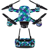 Skin for DJI Spark Mini Drone Combo - Blue Scales| MightySkins Protective, Durable, and Unique Vinyl Decal wrap cover | Easy To Apply, Remove, and Change Styles | Made in the USA