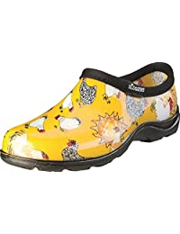 Principle Plastics Sloggers 5116CDY09 Chicken Print Collection Women's Rain and Garden Shoe, Size 9, Daffodil Yellow