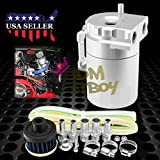 Silver Billet Aluminum Engine Oil Catch Reservoir Breather Tank Can Cylinder With Filter #3