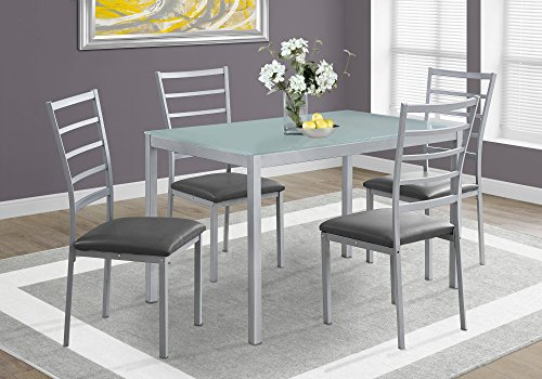 Monarch Specialties Dining Set - 5Pcs Set / Silver / Frosted