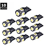 KANLAN 10x T10 5-SMD 5050 W5W Wedge Door Parking Bulb Light Car 5W5 LED Dome Festoon Replacement and Reverse T10 White Bulbs