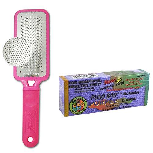 Microplane-Foot-File-Colossal-Callus-Remover-Pink-Color-Mr-Pumice-Coarse-Purple-Pumi-Bar