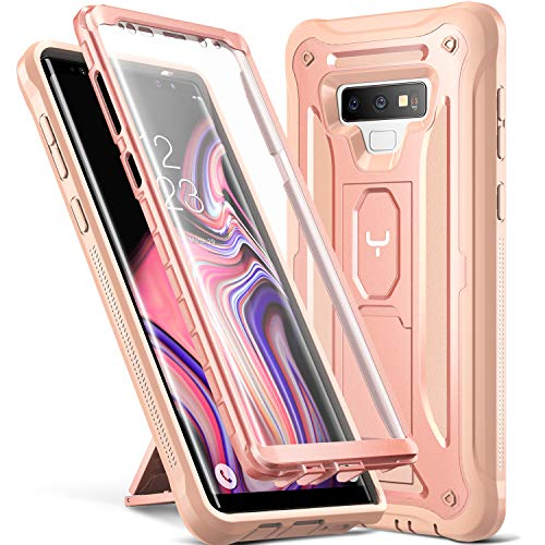 YOUMAKER Kickstand Case for Galaxy Note 9, Full Body with Built-in Screen Protector Heavy Duty Protection Shockproof Rugged Cover for Samsung Galaxy Note 9 (2018) 6.4 Inch - Rose Gold/Pink