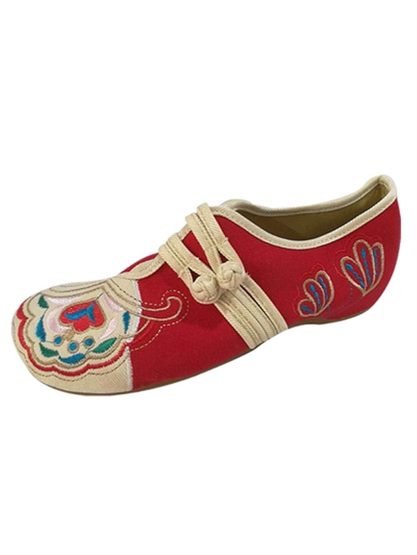 ALIKEEY Eleganti Scarpe da Donna Vintage Ricamate in Cotone Ricamato con Doppie Fibbie Vecchie Scarpe Vintage Scarpe da Trail Running Donna Scarpe Running Unisex