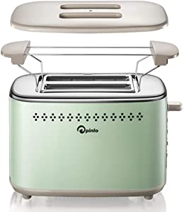 2-Slice Stainless Steel Toasters with 2 Extra Wide Slots 6 Browning Dials and Removable Crumb Tray Warming Rack Retro Green classic
