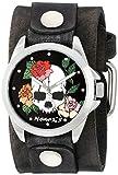 Nemesis Mujer 933gbv-k Negro Calavera y Rosas, Series Faded negro piel Cuff banda reloj de visualización Negro de cuarzo japonés analógico