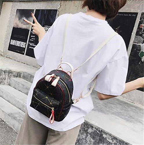 Cuero A JIUSHIGUANG Contraste Costura Negro Agua Rómbica Colgante Bolsos De Femenina Mini PU De 20 Cm 18 La Prueba Color 9 Moda Mochila De ArqdIr